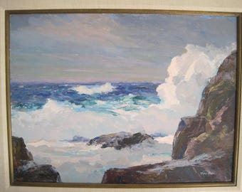 Original Oil on Board Painting Seascape Carmel Point California Early California Listed Artist Mid Century Framed Signed