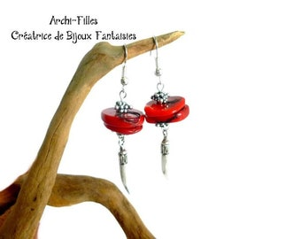 Red coral and silver beaded earrings,coral earrings,coral jewelry,Ethnic jewelry in coral,coral dangling earrings,red stones earrings
