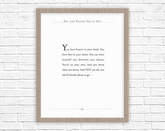 Dr. Seuss Quote | Oh, the Places You'll Go quote | Office Decor | Gifts for Wife, Husband, Spouse, Graduate