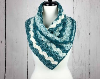 Crocheted Warm Cowl/Wrap/Scarf, Blue Teal/Cream, Pocket Cowl, for Adults/Women/Ladies, Cold Weather Accessories/Cowl/Wrap/Scarf