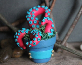 Plantacle Handmade Pink & Blue Planted Tentacle in Flower Pot