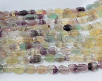 Mixed Fluorite Strand, Multi Color Beads, Fluorite Oval Beads, Smooth Gemstone Beads, Mixed Bead Yellow Fluorite Banded Fluorite Full Strand