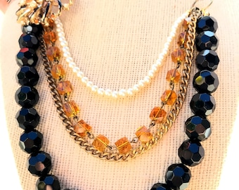 Tiered Vintage Bead and Brooch necklace