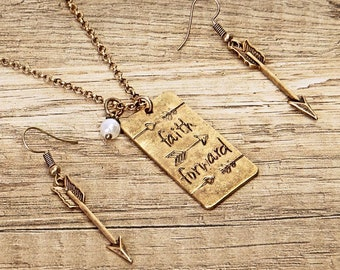 Hand Stamped Arrow Faith Forward Gold Necklace Earring Set