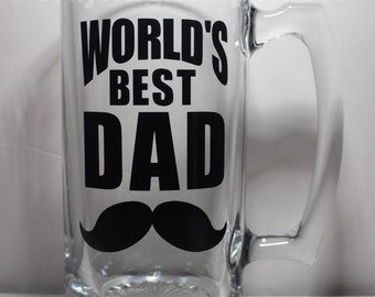 WORLD'S BEST DAD Personalized Glass Beer Mug perfect for Father's Day or Birthday Gift