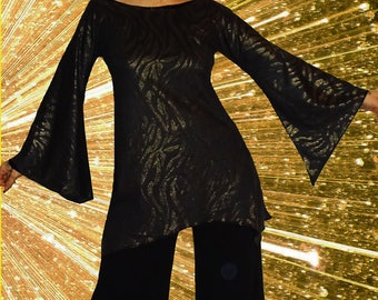 Stretch tunic, long tunic, party tunic, asymmetrical tunic 'Black and gold...'