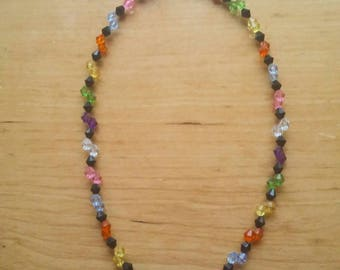 Colourful diamond beaded necklace