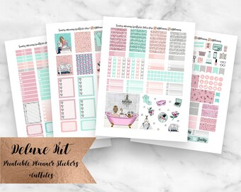 Sunday Mornings Deluxe Weekly Kit Printable Student Planner Stickers- Erin Condren Planner Stickers- Instant Download