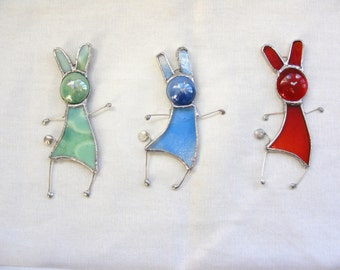 Bunny Rabbit Stained Glass Suncatcher - MADE TO ORDER - Window or Wall Hanging Ornament - Suncatcher - Gift for Her - Easter Decoration