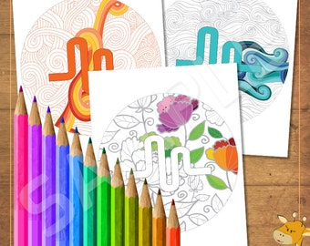 Musical.ly coloring pages, 8 texture pages & musiclly logo - instant download - Digital files