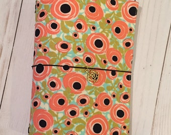 Peachy Flowers Moo-dori, Fauxdori, Midori, travelers notebook with charm