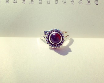 Desert Sun Ring - Garnet Split Band Sterling Silver