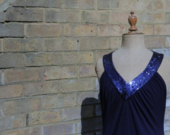 1920's style flapper dress in navy with sequin detail size 10