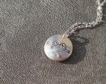 Personalized Love Birds Locket Hand Stamped Sterling Silver - Engagement Gift - Anniversary Gift - Wedding Gift