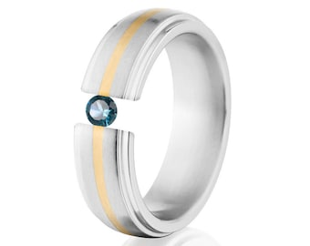Tension Set Ring, 7mm, Uniequly You, Two Toned Titanium and Yellow Gold, Blue Topaz, 7HRRC1G-14k-BR