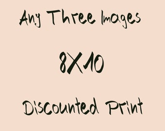 Three (3) 8x10 inch size photographs of your choice, Photo for nursery, landscape photo, Fine Art Print, Vintage.
