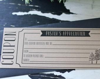 Pastor Appreciation COUPON ~ Thank You Cards ~ SET of THREE