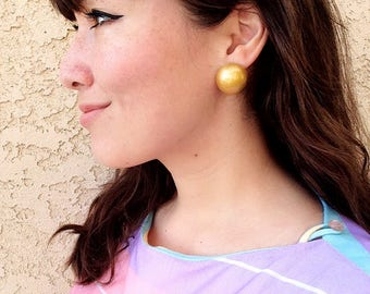 Large Sunshine Gold Painted Wood Button Dome Earrings