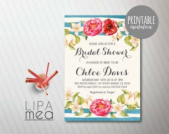 Floral Bridal Shower Invitation, Nautical Bridal Shower Invitation, Spring Summer Bridal Invitation Boho Bridal Shower Invitation Printable