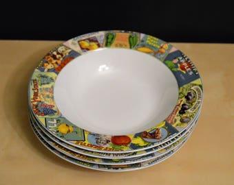 "Set of 4 Vintage Labels 8.25"" Soup Cereal Salad Bowls by Sakura, Oneida, Table Trendz, Vintage Produce Labels Advertising, Stoneware"