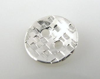 Sterling Silver Buttons, 1/2 Inch, 13mm, Textured, Hammered, Polished QTY 4