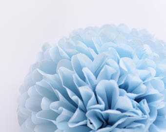 Paper pom pom in Powder blue - birthday decorations - wedding decorations / party decor/ nursery decor/ bridal baby shower / party poms