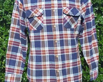1970s Blue/Red Plaid Sears Long sleeve Shirt