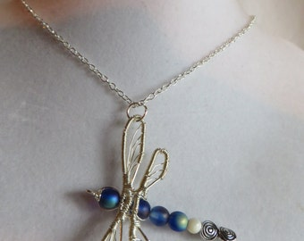 "18"" Wire Wrapped Dragonfly Necklace on Silver Chain, Necklace, Dragonfly, Wire Wrapped"