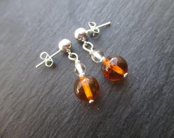 Amber earrings and rock crystal