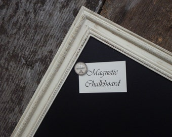 SET: Magnetic Chalkboard Distressed Ivory Vintage Style Frame - Medium 23.5 x 17.5 in. Magnetic Board Set - Ivory Chalkboard