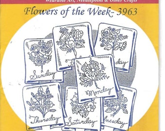 New Aunt Martha's Hot Iron Transfers Flowers of the Week 3963