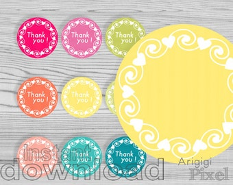 THANK YOU printable circles, bold summer colors with wreath of hearts and swirls, 2.5 in round tag download