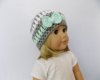 18 Inch Doll Hat, Bow Doll Hat, Mint Green and Gray Doll Hat