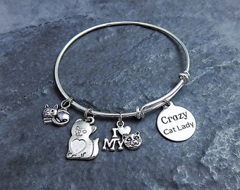 Crazy Cat Lady - Cat Charm Bracelet - Cat Lover Gift - Expandable Bangle- Cat Charms - Gag Gift - Gift for Her - Cat Jewelry - Kitty