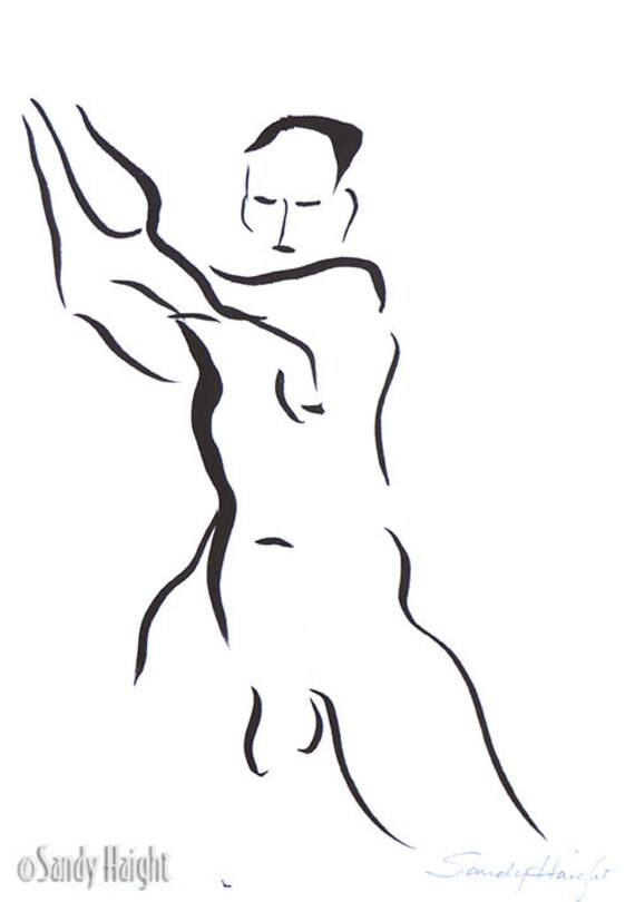 Original Sumi Painting, 25% OFF SALE, brush & ink, unframed, wall art, man, male, nude, frontal, home decor, black and white, gift, swinging