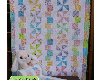 Modern Baby Quilt Pattern - Tumbles & Twirls Layer Cake Baby Quilt Pattern - Easy -Hard Copy - FREE SHIPPING!
