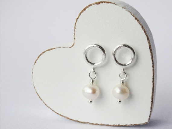 Silver Hoop Stud Earrings & Pearls - Sterling Silver
