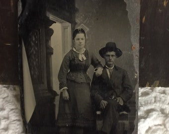 Gentleman with Hat and Lady Antique Tintype Photo  Victorian Era Art Nouveau