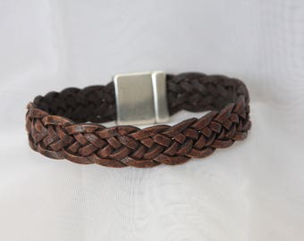 Braided Brown Leather bracelet with large magnet clasp