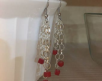 Multi-Chain Red Square Earrings