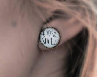 Gypsy Earrings Studs - Gypsy Soul Free Spirit Gift For Her - Bohemian Stud Earrings - Silver Bronze Boho Studs - Circle Stud Earring Quote