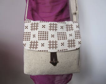 Ivory handbag, silk, graphic pattern flap
