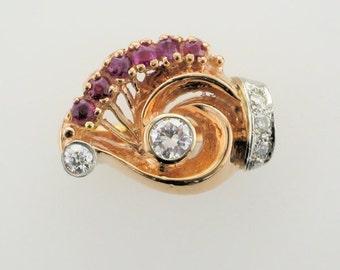 14 Karat Rose Gold Ruby and Diamond Retro Ring, Retro Ring, Ruby and Diamond Ring, Rose Gold Ring, Antique Ruby and Diamond Ring