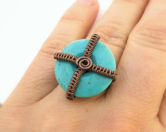 Geometric cocktail ring, turquoise blue jewelry, rustic copper ring, stone statement jewelry, US size 6