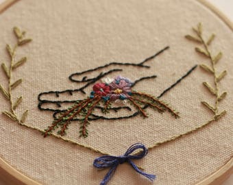 Handmade Embroidery Hoop - Hand with Flowers
