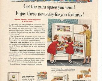 1952 Advertisement General Electric Refrigerator Food Freezer Combination 50s Kitchen Appliances Space Maker Spacemaker 8x11 Wall Art Decor