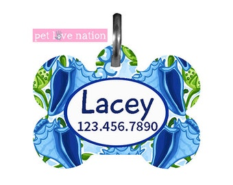 Personalized pet Tag, Dog Tag, ID Tag, Preppy Seashells Blue And Green With Name And Phone Number