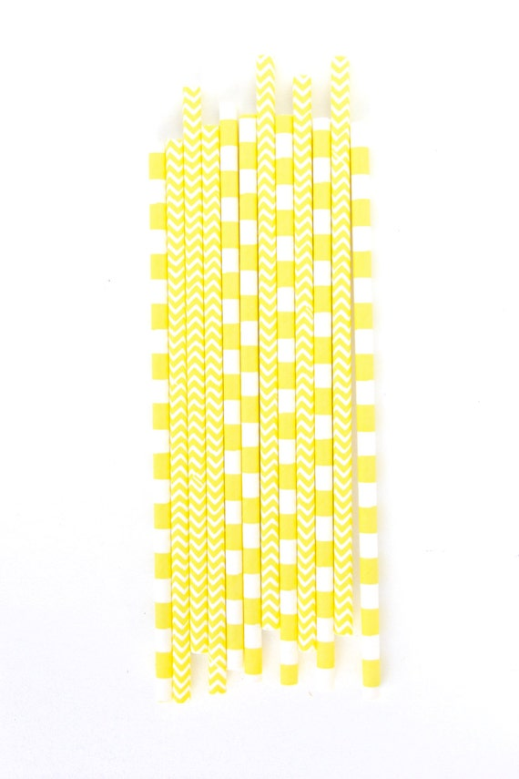 Yellow Straw, Paper Straw, Neon Straw, Gold Straw, Baby Shower or Wedding Straw, Yellow Decor, Summer Decor, Summer Straw, Neutral Baby