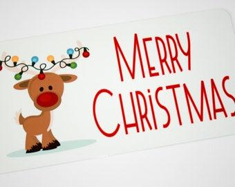 Christmas Sign - Cute Reindeer Sign - Wreath Sign - Wreath Attachment