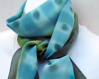 Hand painted silk neck scarf, gray-green, sage, olive, chartreuse, turquoise. Small painted silk scarf, blue and olive green.